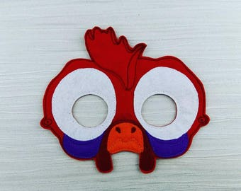 Silly Chicken Mask - Chicken Felt Mask - Soft Mask - Moana Mask - HeiHei Mask - Costume Mask - Pretend Play - Halloween Mask - Party Favor
