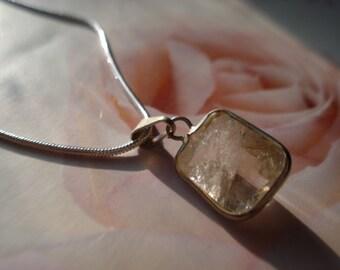 Rutilated Quartz Pendant silver chain necklace//White Quartz Pendant// Energy Pendant// Healing pendant