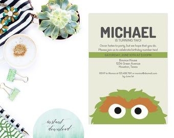 oscar the grouch invitation printable, sesame street invitation, oscar the grouch birthday invitation, sesame street invite