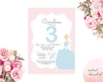 Printable Cinderella Invitation | Princess Invitation | Printable Cinderella Birthday Invite