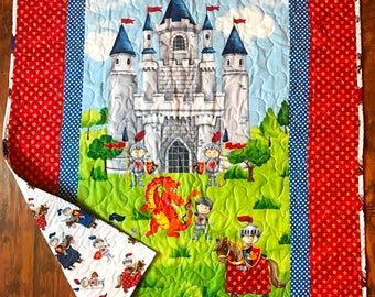 """Boys *Castle for Knights and Dragons"""" 39""""x42.5"""" Quilt Baby Nursery Crib Bedding Toddler Napping Blanket Stippling Quilted Napping"""