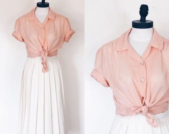 1950s Semi Sheer Peach Button Up Blouse | Size Medium | 50s Vintage Top | Midcentury Shirt