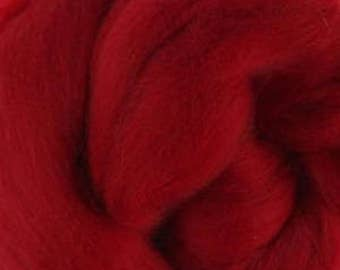 Extra fine Merino wool roving, Fire red, 19 micron, 100 grams/3.5 oz.