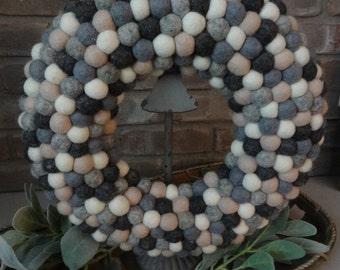 "Handmade 14"" Wool Felt Ball Wreath"