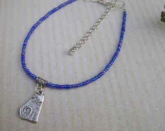 Anklet. Cat Anklet. Charm Anklet Beaded Ankle Bracelet. Boho Anklet. Beach Anklet. Gift For Cat Lover. Cat Jewellery. Animal Jewellery.