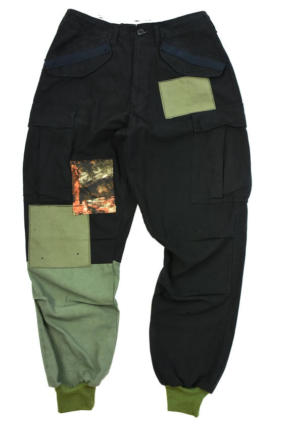 color blocked  patch work m-65 cargo pants