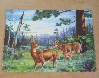 Vintage Deer Paper Placemats • 7 Mid Century Doe Buck and Fawn Placemats