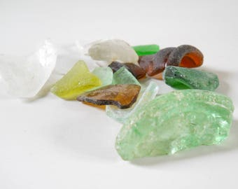 Lot of Natural Beach Glass • Lake Michigan Beach Glass • White Brown Green Bottle Necks