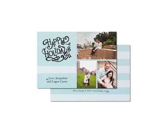 Picture Collage Holiday Card - Holiday Card - Custom Colors