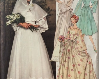Vogue Paris Original 1363 Nina Ricci misses bridal dress size 10 bust 32 1/2 vintage 1970's sewing pattern  Uncut  Factory folds