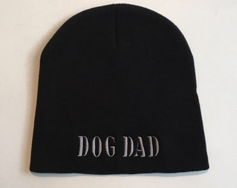 Black Knit Cap || Dog Dad Beanie || Dog Lover Hat || Personalized Gift by Three Spoiled Dogs Made in USA