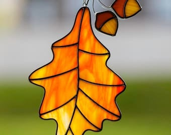 Stained glass orange oak leaf with acorn suncatcher, stain glass fall leaf, acorns, glass leaf, autumn decoration
