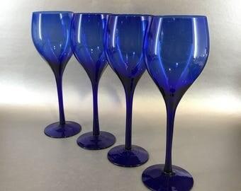 Set Of 4 Cobalt Blue Wine Glasses vintage