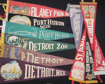 Vintage Felt Travel Pennants - Michigan - Detroit, Port Huron, Blaney Park, St. Ignace, Iron Mountain, Dearborn
