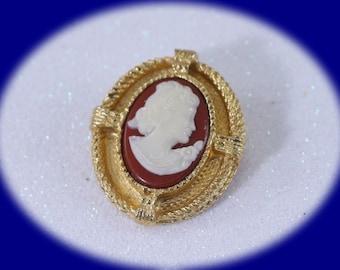 Vintage Art Nouveau Cameo Brooch Gold Tone  Cameo Vintage Jewelry Vintage Cameo