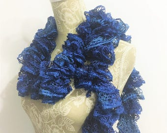Blue Crochet Scarf, Crochet Ruffle Scarf, Crochet Scarf, Ready to Ship, Ruffled Scarf, Sequins Scarf, Frilly Scarf, Scarf, Gift for her