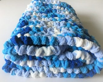 Blue Baby Blanket, Crochet Baby Blanket, Baby Boy Blanket, Stroller Blanket, Baby Photo Prop, Free shipping, Ready to Ship, Baby Shower Gift