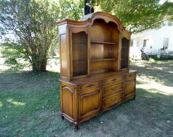 "Large Vintage French Country Breakfront Cabinet Bookcase w/ Heavy Expanded Brass & Raised Panels Floral Carvings 92""T x 90""W"