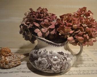 Antique French Country  black Ceramic Pitcher Sarreguemines  1800s jardinière pattern