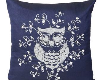 Dark Blue Owl Pillow Cover Decorative Beaded Owl Accent Pillow Dark Blue Owl Throw Pillow Owl Pillow 14x14 16x16 18x18 20x20