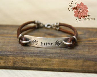 Hibiscus Leather Bracelet, Sterling Silver Bar Bracelet, Personalized Jewelry, Hand Stamped Message, Hawaiian