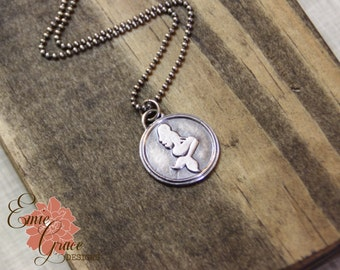 Silver Mermaid Necklace, Sterling Silver and Fine Silver, Wax Seal, I'm Really a Mermaid