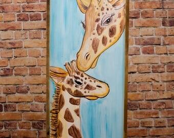 Giraffe painting Watercolor art Nursery decor Nursery wall art Giraffe art Giraffe print Baby shower gift Baby nursery decor Baby girl gift