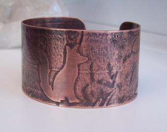 Fox bracelet , copper fox cuff , copper bracelet , wide copper fox cuff , handmade copper fox cuff with raised detail and oxidized