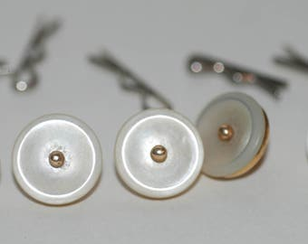 Genuine Vintage ca 1915 Ryrie Mother of Pearl and Gold Waistcoat or Vest Button Set -- Free Shipping!