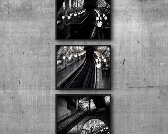 Paris Metro Collection, Black and White Photographs, Subway Train Photo Three Piece Set of 3, Railway Tracks Art, French Underground Picture