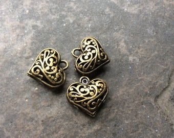 Filigree Puffed Heart Charms in Antique Bronze finish Package of 3 Valentines Day charms or pendants Great Quality!