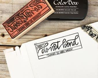 DO NOT BEND, Custom Rubber Stamp Design, Return Address, Rubber Stamp, Modern Calligraphy Wood Stamp, Hand Lettered Stamp