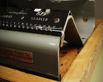 Vintage Swingline 615 Stapler with Handmade woode base