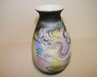 Vintage Oriental Dragon Vase Enamel Moriage Japan