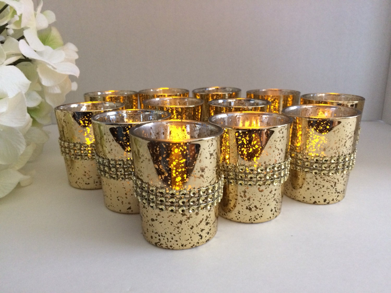 Wedding centerpiece rhinestone gold mercury glass candle