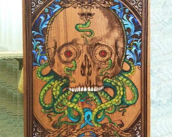 Skull Painting, Oil Painting on Wood, Octopus Art, Cthulhu Idol, Wood Art Decor, Wood Wall Art, Art on Wood Artwork, Oil Painting Skull Art