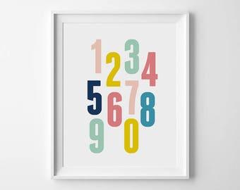 Kids wall art, Nursery numbers, Kids room decor, Numbers print, Nursery art, Children art, Kids printable, Classroom art, 123 wall art