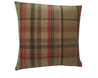 Skye tartan check faux wool Hunter moss green red charcoal beige scatter cushion cover hand made in Britain