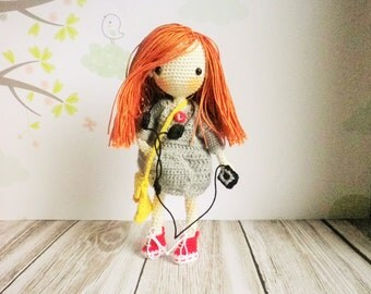 Doll crochet very very fine, 14 cm, my creation, small teen, redhead, art and collection, unique decoration