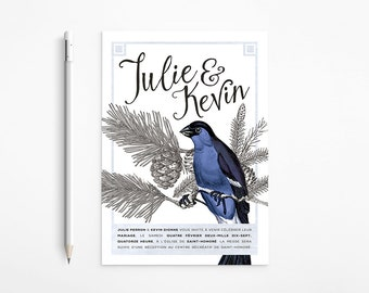 PRINTABLE - Vintage Winter Lovebirds Wedding Invitation - Dark blue, Black and white - Romantic - Free changes