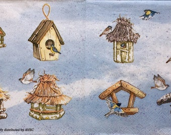Rare single(one)Avec napkin Birdhouses &Birds  for collectie,decoupage ,decoupage under glass,scrapbooking and other art and crafts