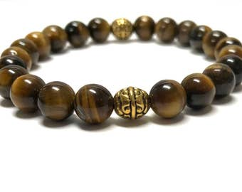 Tiger Eye Bracelet for Men with Gold Accent Beads