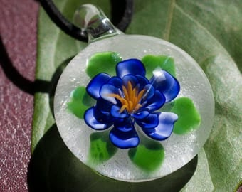 Cremation Glass Pendant - Glass Flower Jewelry - Human Remains - Cremains Glass - Human Ashes Flower - Pet Ashes Glass Necklace