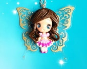 Fairy, Pendant, Necklace, Glitter, Wings, Polymer Clay, Kawaii, Fimo