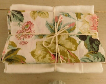 French vintage fabric bundle  Monogrammed serviettes  Vintage floral fabric  craft fabric  Project fabrics