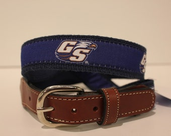 Georgia Southern  Men's  Web Leather Belt