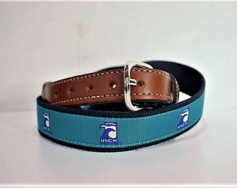 UNCW  Men's  Web Leather Belt