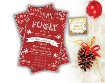 Damn Thats One Fugly Ugly Tacky Sweater Christmas Party Invitation Red Texture Digital Download Professional Printing Holiday