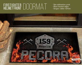 Personalized Firefighter Helmet Front - Welcome Mat/Doormat/Rug - 2 Sizes - High Quality Dye Sublimation, Weatherproof - Indoor/Outdoor