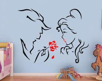 Beauty and Beast,  Handmade Sticker,  Decal, Wall Sticker, Interior Sticker, Window Sticker, Car Sticker, Wall Decal